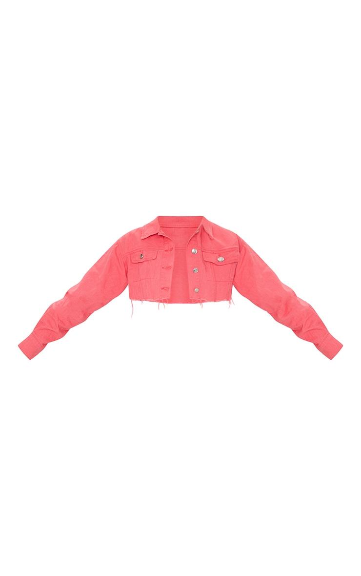 Coral Wash Denim Cropped Jacket 5