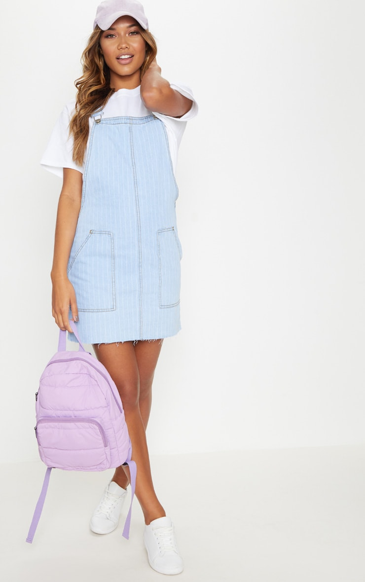 Light Wash Stripe Denim Pinafore  3