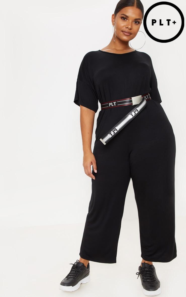 Plus Black Oversized T Shirt Culotte Jumpsuit 1