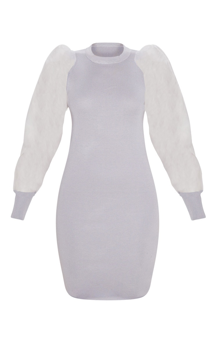 Grey Organza Puff Sleeve Dress 3