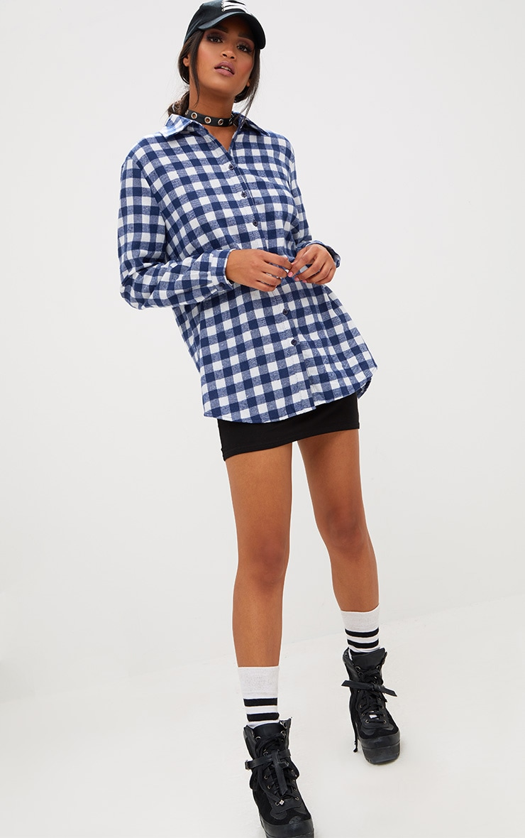 Blue Oversized Checked Flannel Shirt 4