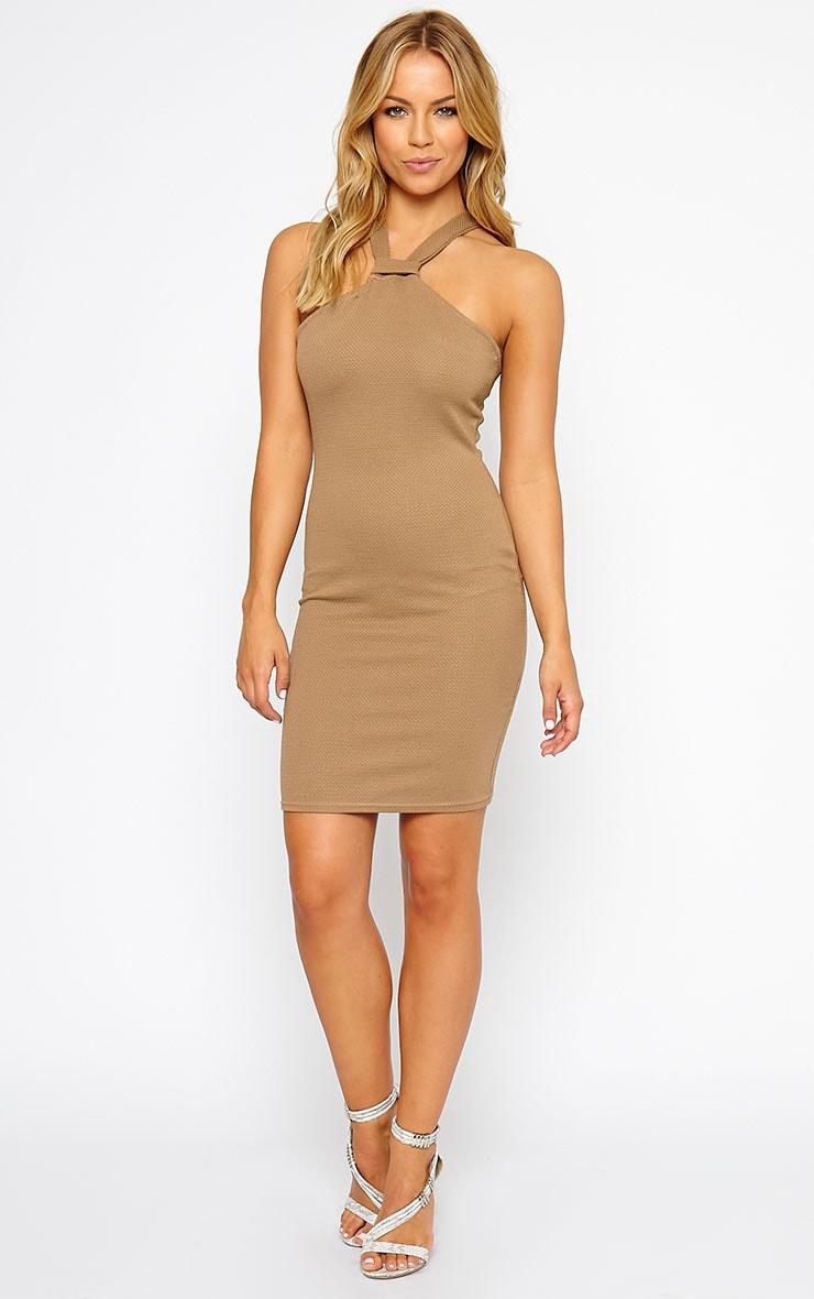 Nixie Camel V Strap Mini Dress 3