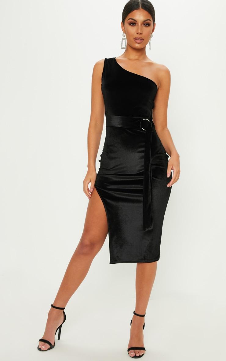 Black One Shoulder Velvet Midi Dress