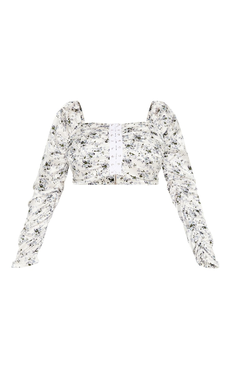 Plus White Ditsy Floral Ruched Lace Up Detail Crop Top  3