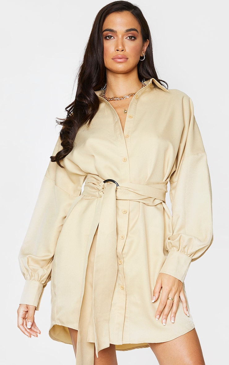 Stone Belted Tie Shirt Dress 1
