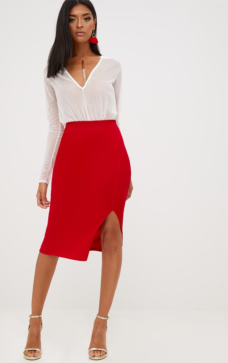 Red Basic Split Midi Skirt 1
