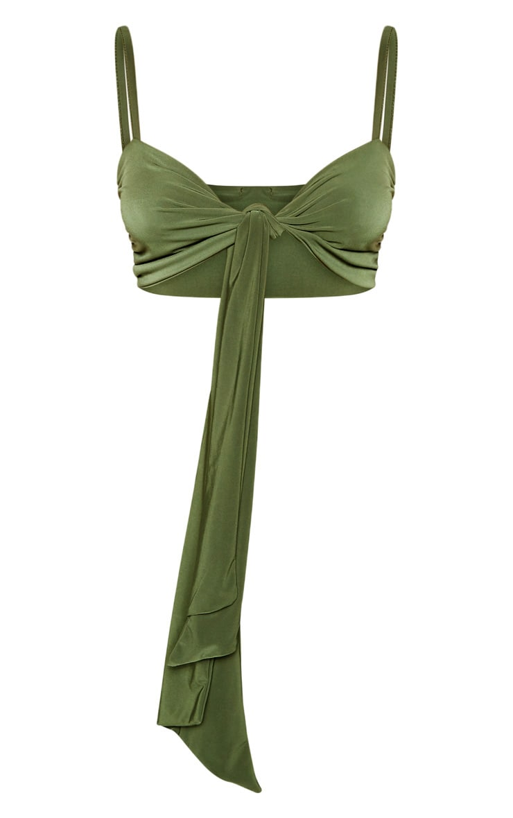 Petite Slinky Olive Green Strappy Tie Front Crop Top 3