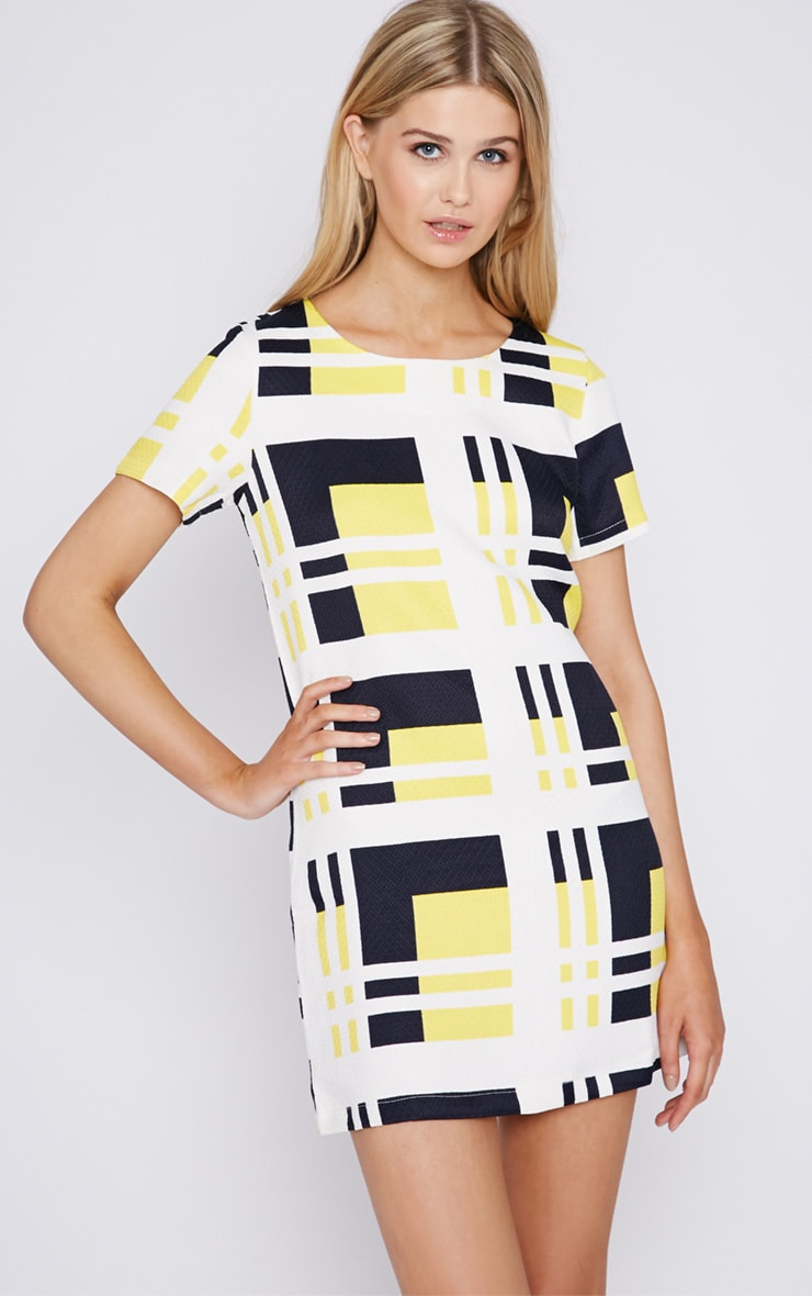 Karina Abstract Print Quilted Shift Dress 1