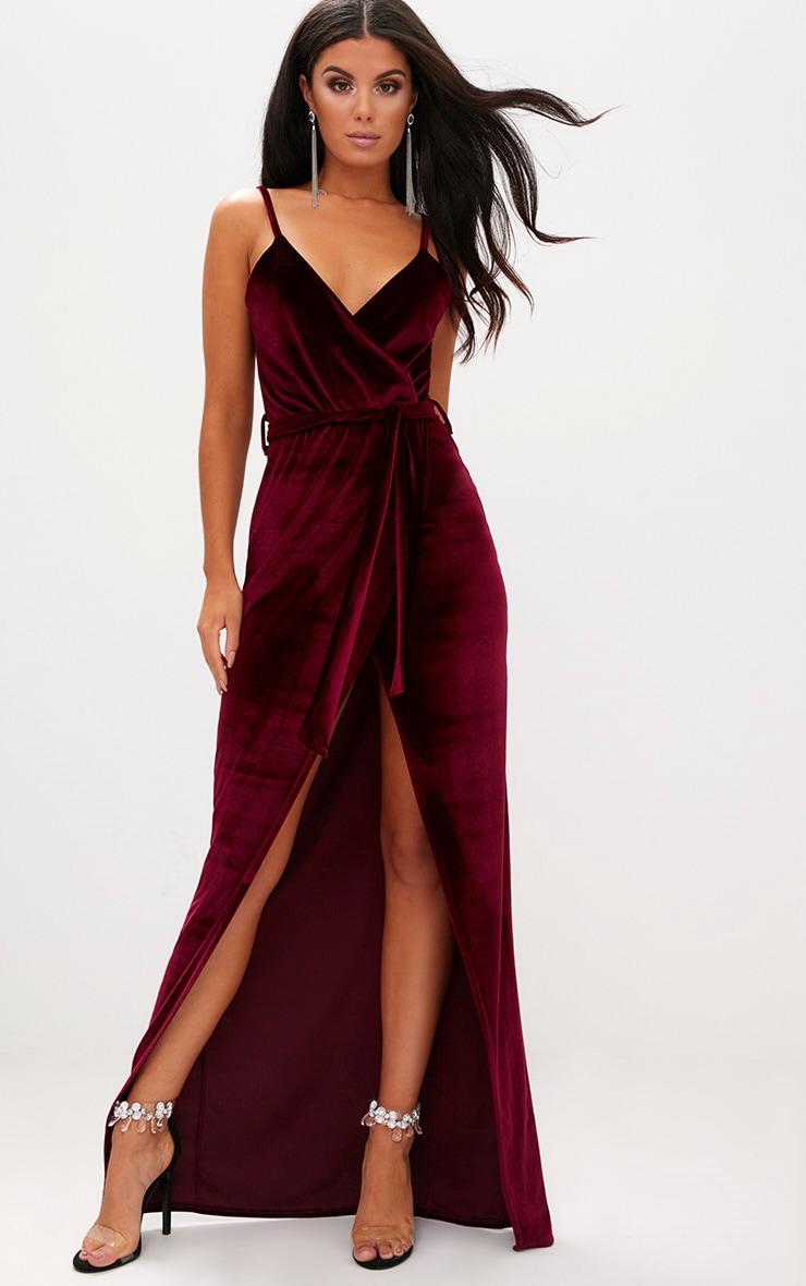 Burgundy Velvet Plunge Wrap Maxi Dress 1