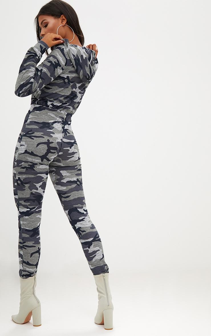 Camo Hooded Zip through Jumpsuit 2