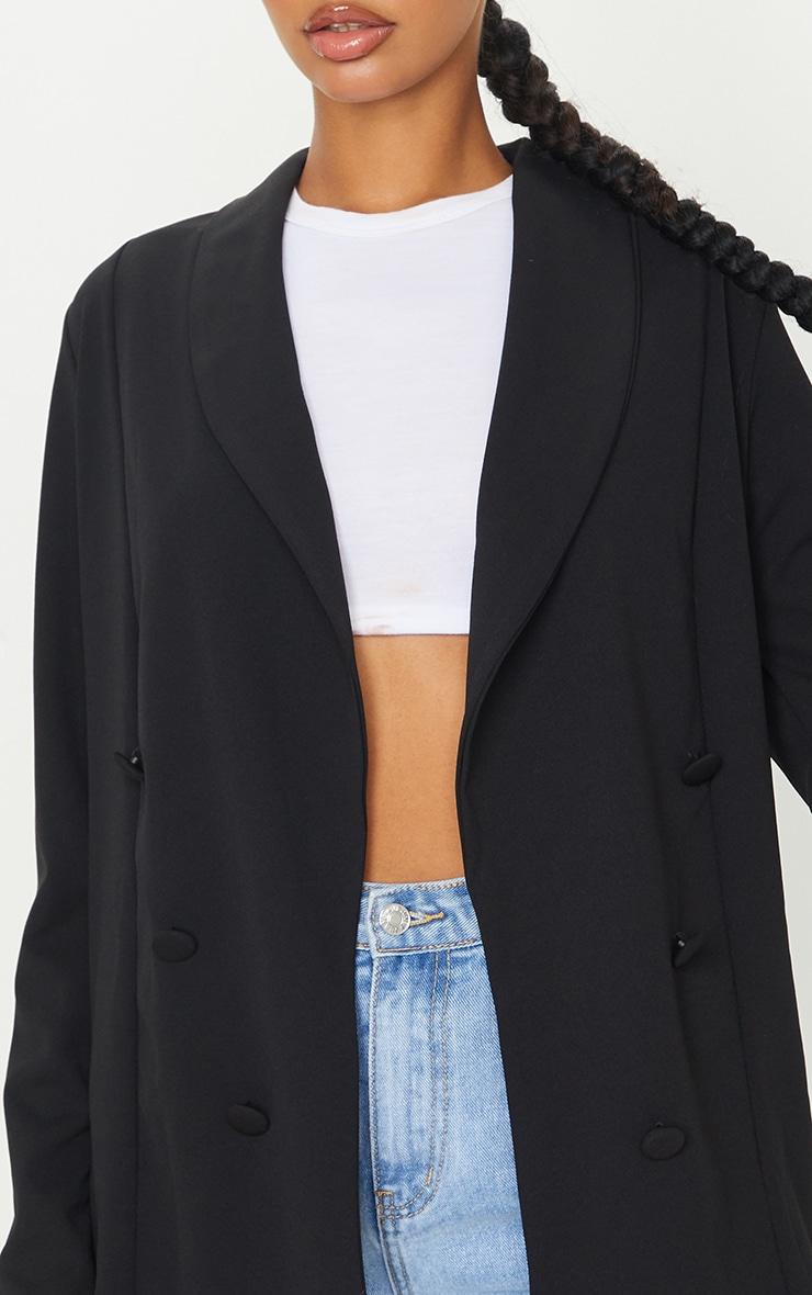 Black Triple Breasted Oversized Crepe Blazer 4