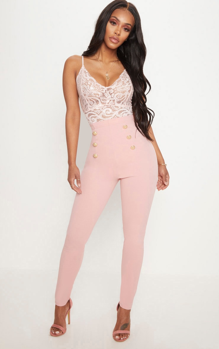 Shape Dusty Pink Military Button Skinny Trousers 1