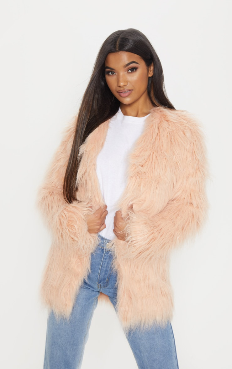 Amaria Nude Shaggy Faux Fur Jacket 1