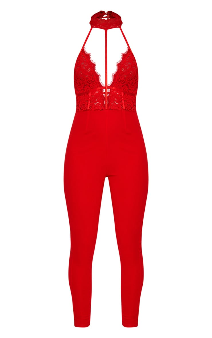 Red Lace Harness Jumpsuit 4