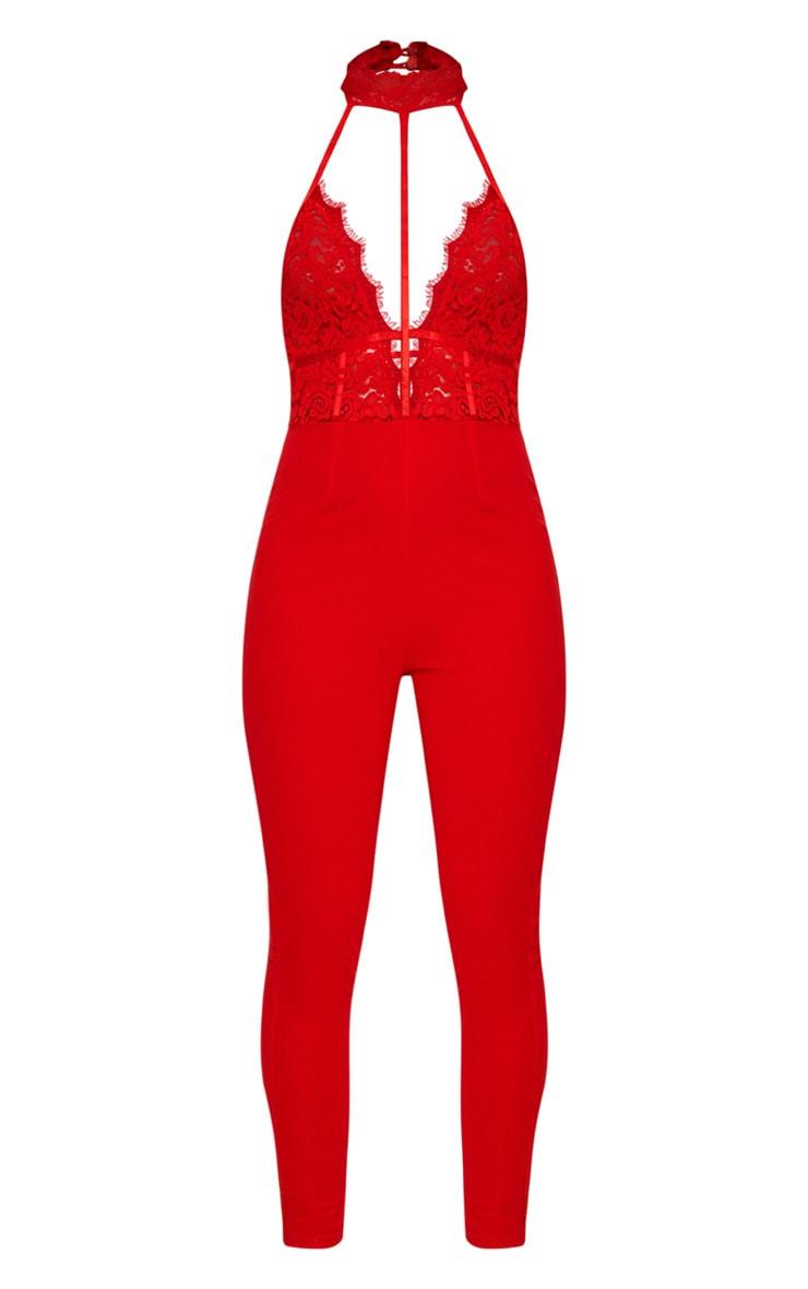 Combinaison rouge à partie en dentelle style harnais 3
