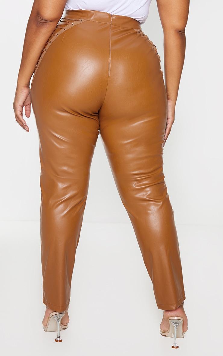 Plus Tan PU Lace Up Detail Pants 3