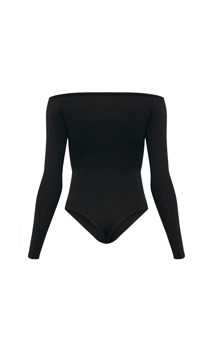 PLT Black Slogan Bardot Thong Bodysuit 3