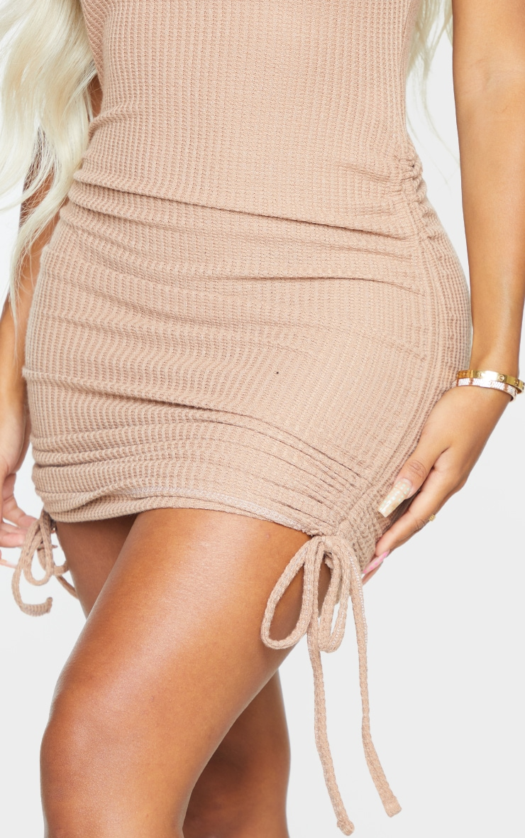 Shape Soft Brown Textured Ruched Side Bodycon Dress 4