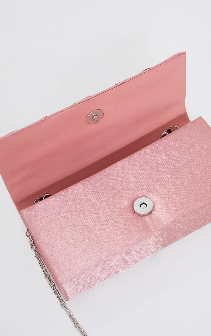 Pink Satin Ruched Knot Clutch 4