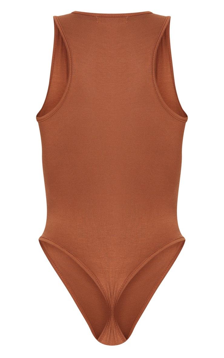 Basic Tan Racer Back Thong Bodysuit 4