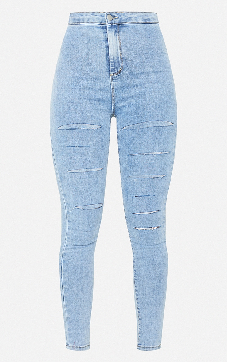 PRETTYLITTLETHING Vintage Wash Rip Distressed Disco Skinny Jeans 5