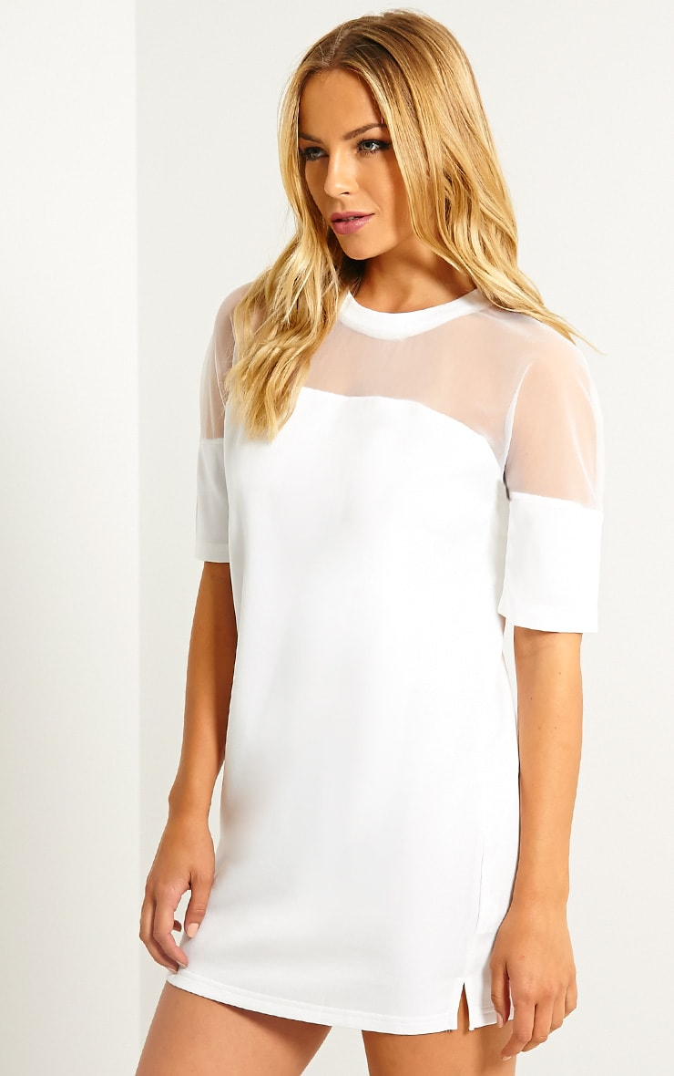 Camille White Mesh Top Shift Dress 4