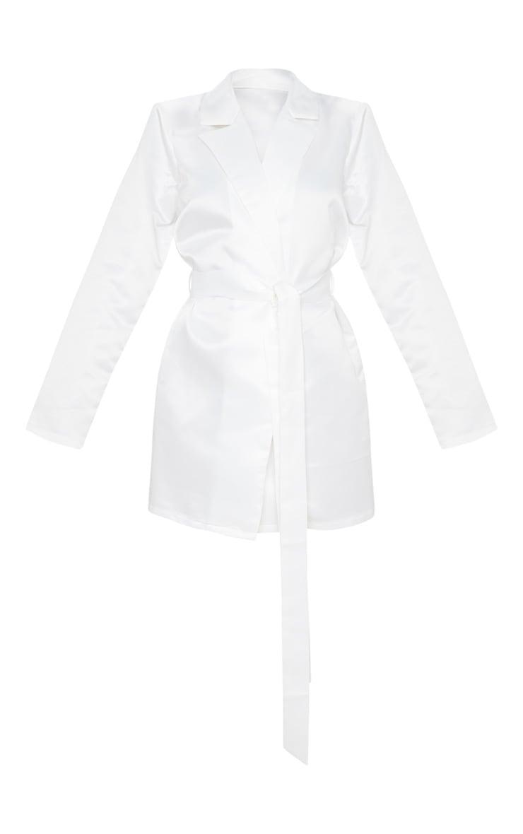 White Matte Satin Long Sleeve Tie Detail Blazer Dress 3