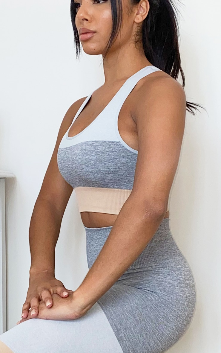Grey Seamless 3 Tone Backless Sports Bra 4