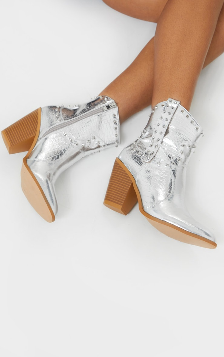 Silver Studded Western Heeled Boots 1