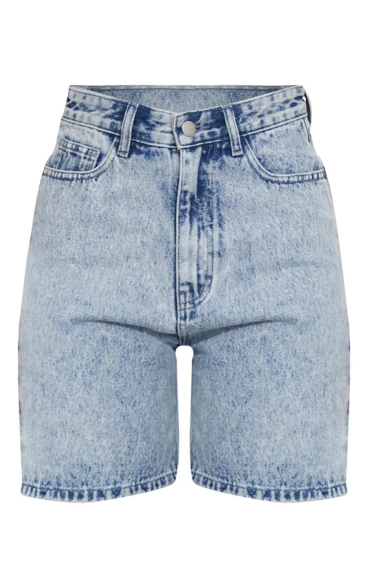 Acid Blue Wash Cargo Pocket Boyfriend Shorts 6