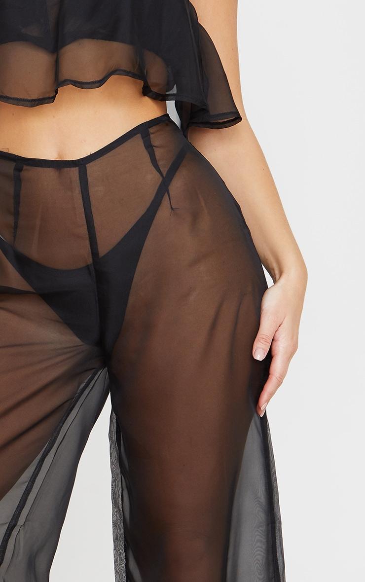 Black Wide Leg Beach Trouser 5