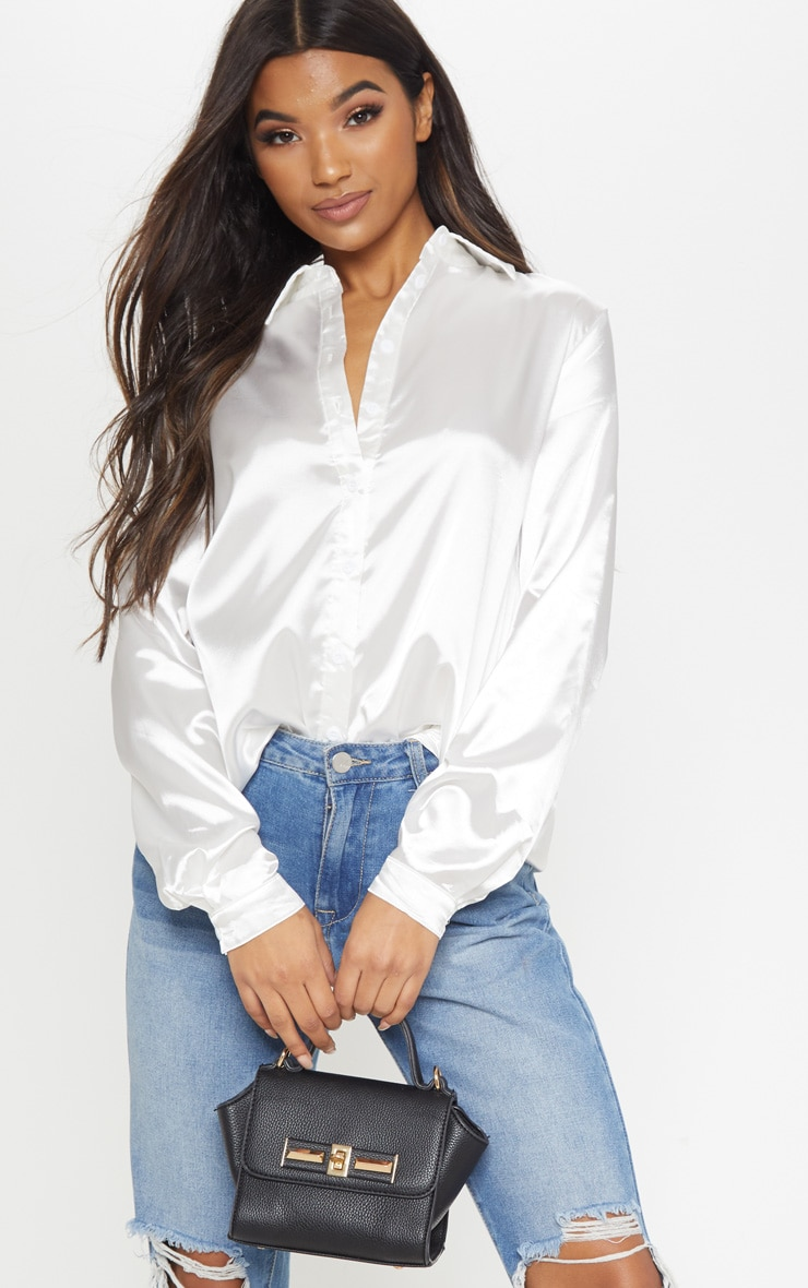 White Satin Button Front Shirt 4