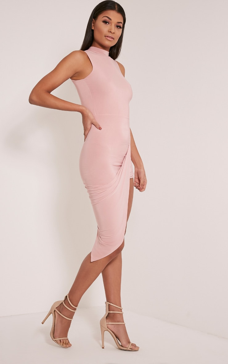 Prim Dusty Pink Slinky Drape Asymmetric Dress 5