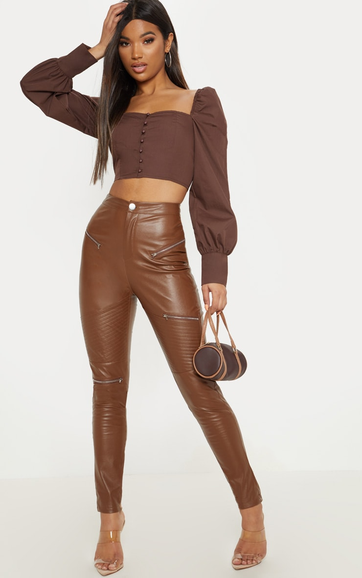 Tan Faux Leather Biker Skinny Trouser  1