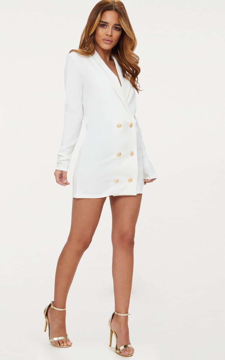 Petite White Gold Button Blazer Dress 5