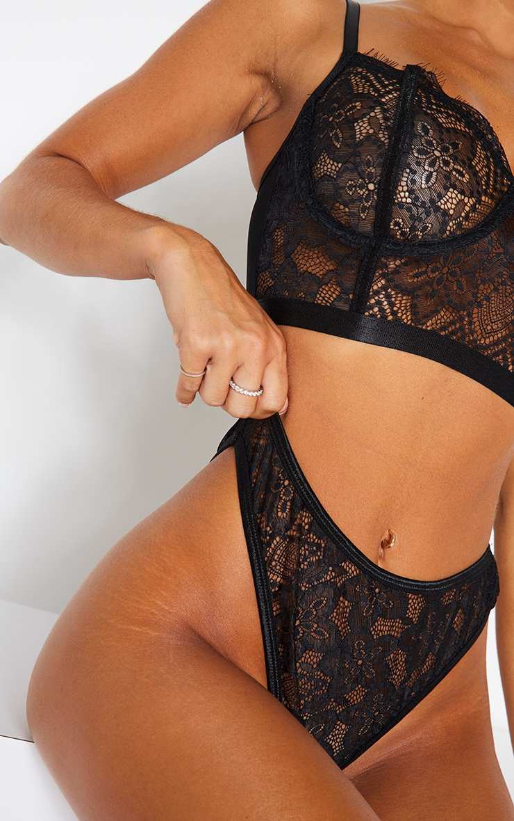 Black Delicate Lace High Waisted Thong 5