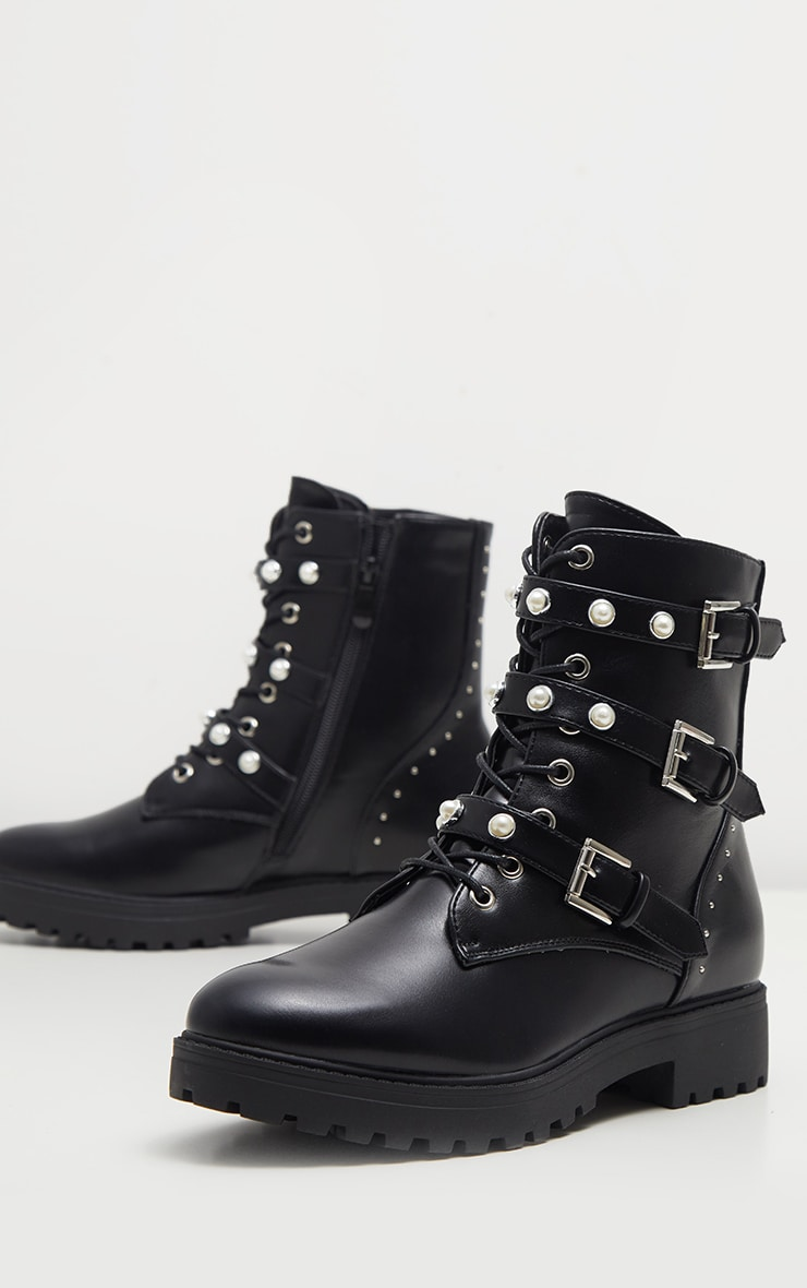 Black Lace Up Pearl Studded Biker Boot  3