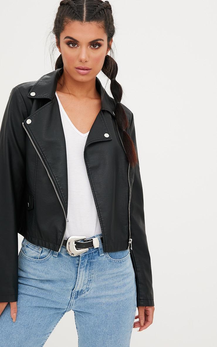 Black PU Biker Jacket With Pocket Detail 1