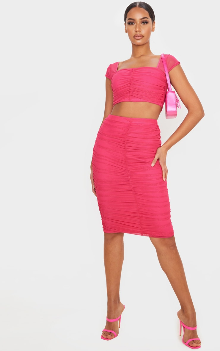 Hot Pink Mesh Ruched Midi Skirt