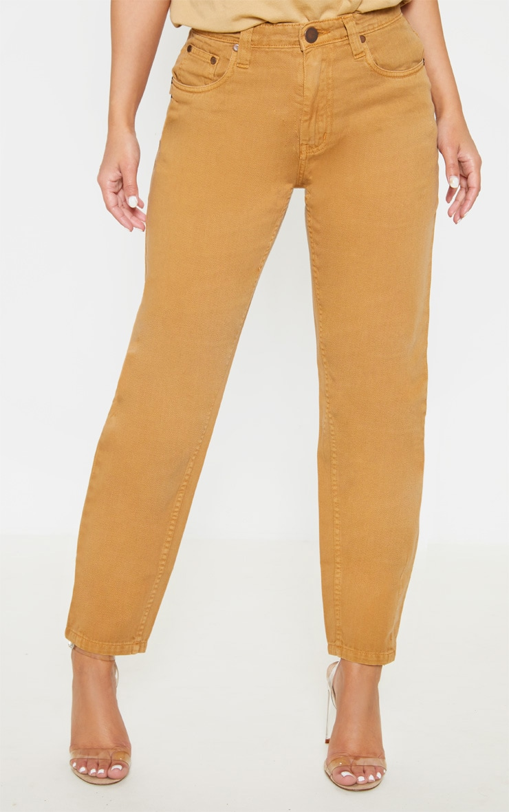 Petite Camel Denim Mom Jeans 2