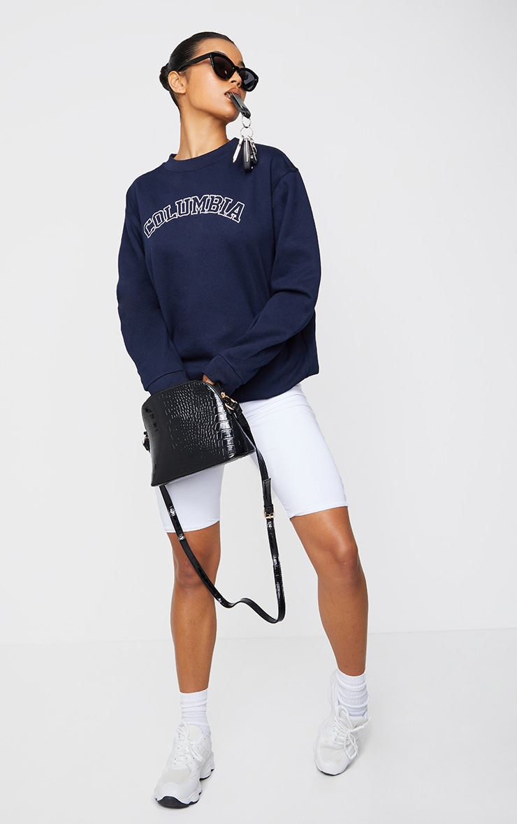 Navy Columbia Embroidered Oversized Sweater 3