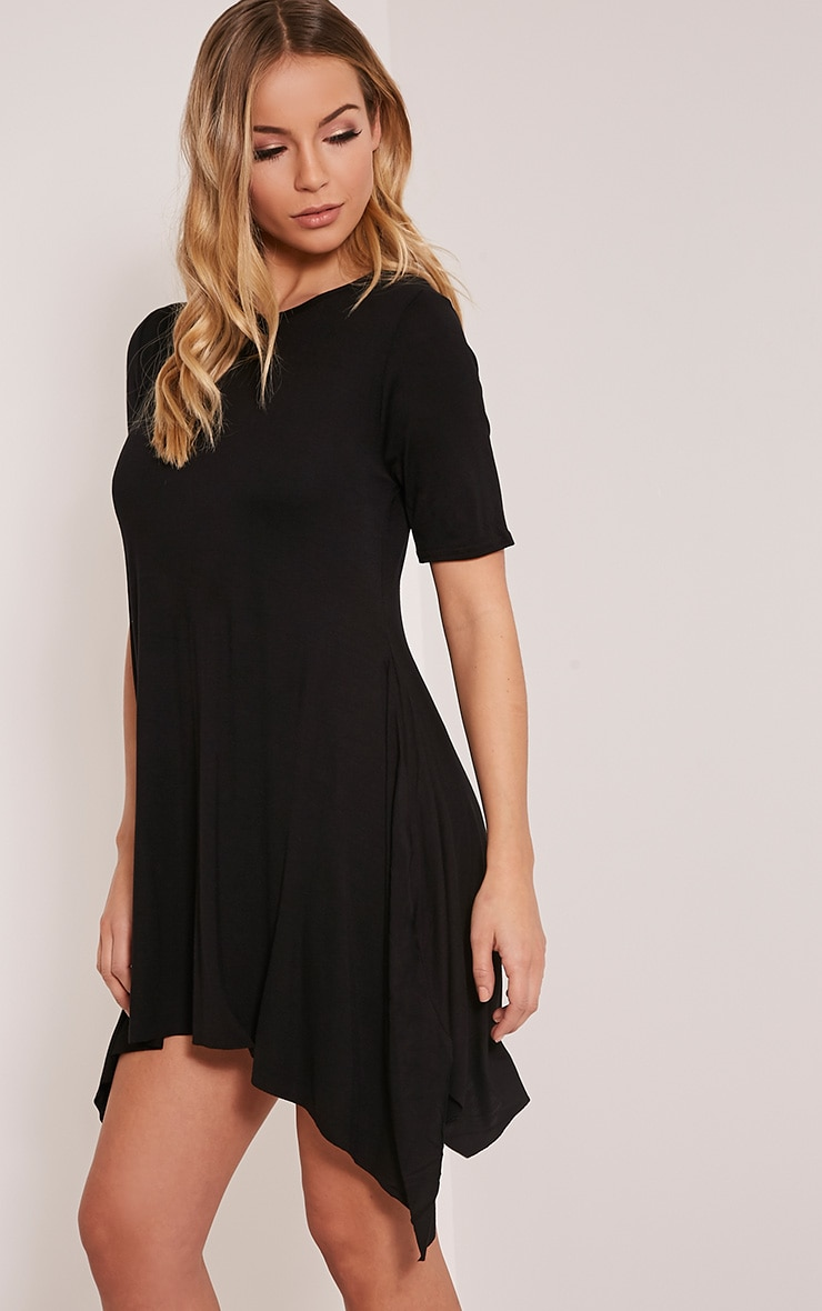 Trudi Black Raw Edge Asymmetric  Hem Dress 4