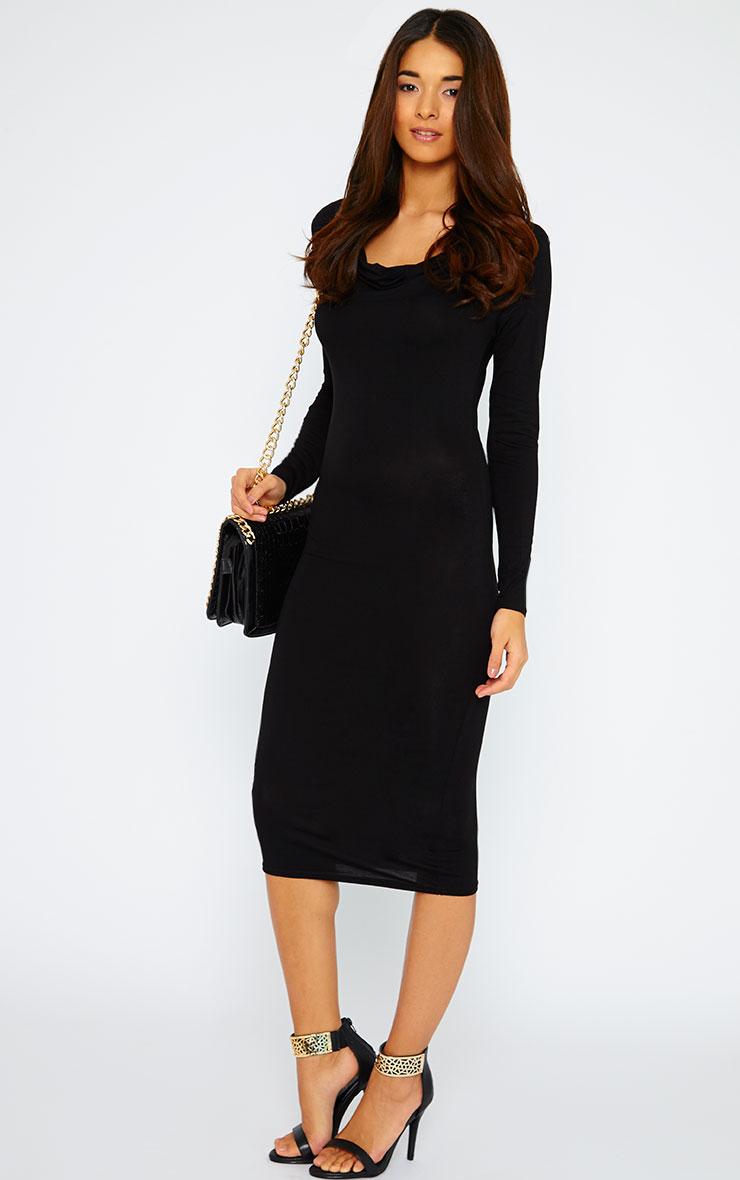 Lise Black Jersey Cowl Neck Midi Dress  3