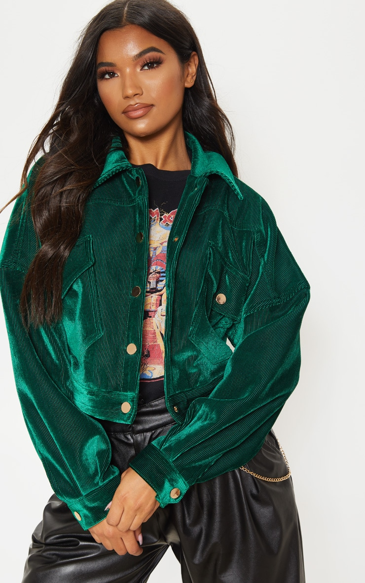 Emerald Green Cropped Cord Oversized Trucker Jacket  4