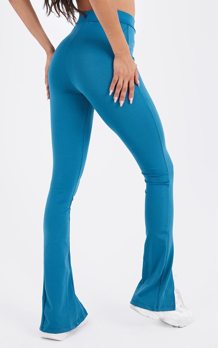 Steel Blue Stretch Scuba Skinny Split Hem Pants 3
