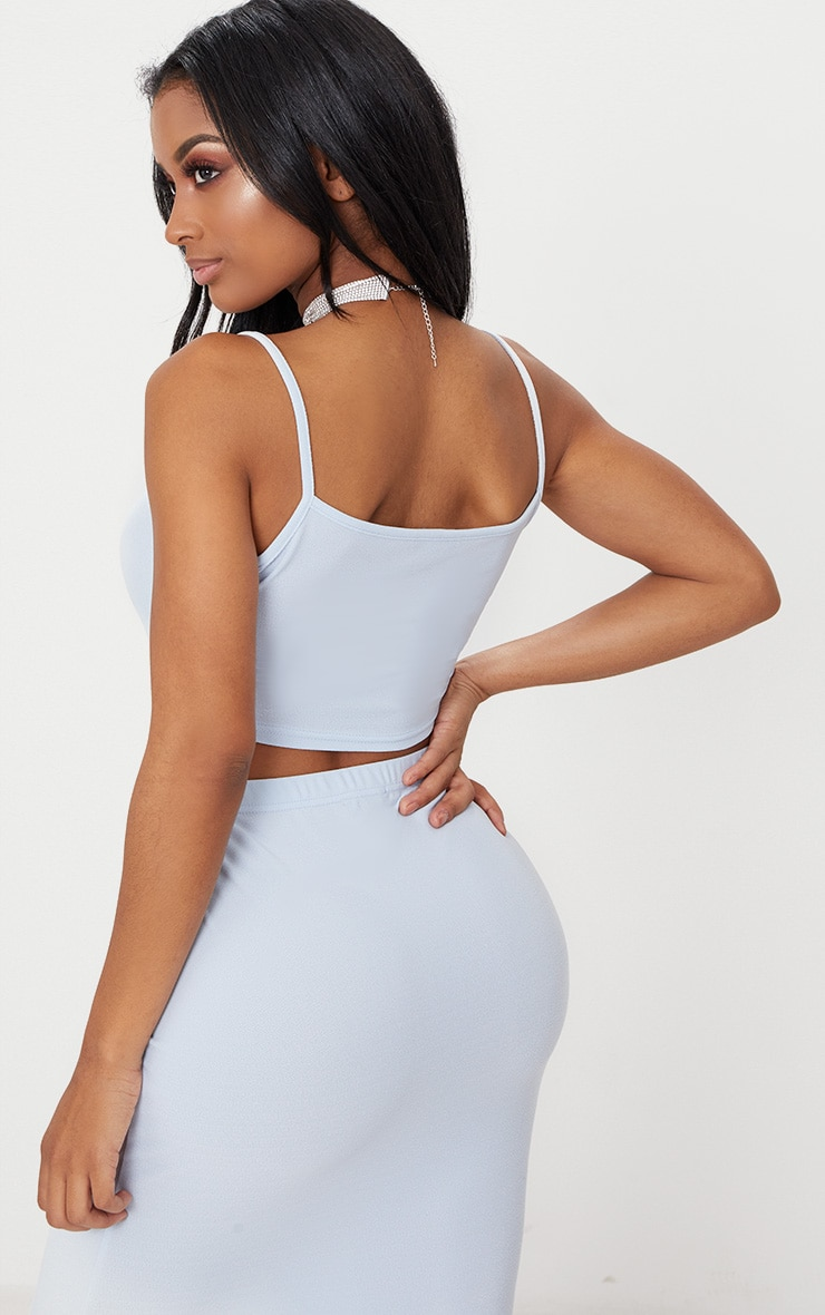 Shape  Light Blue Strappy Crop Top 2
