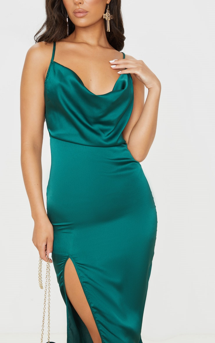 Emerald Green Strappy Satin Cowl Midi Dress 5