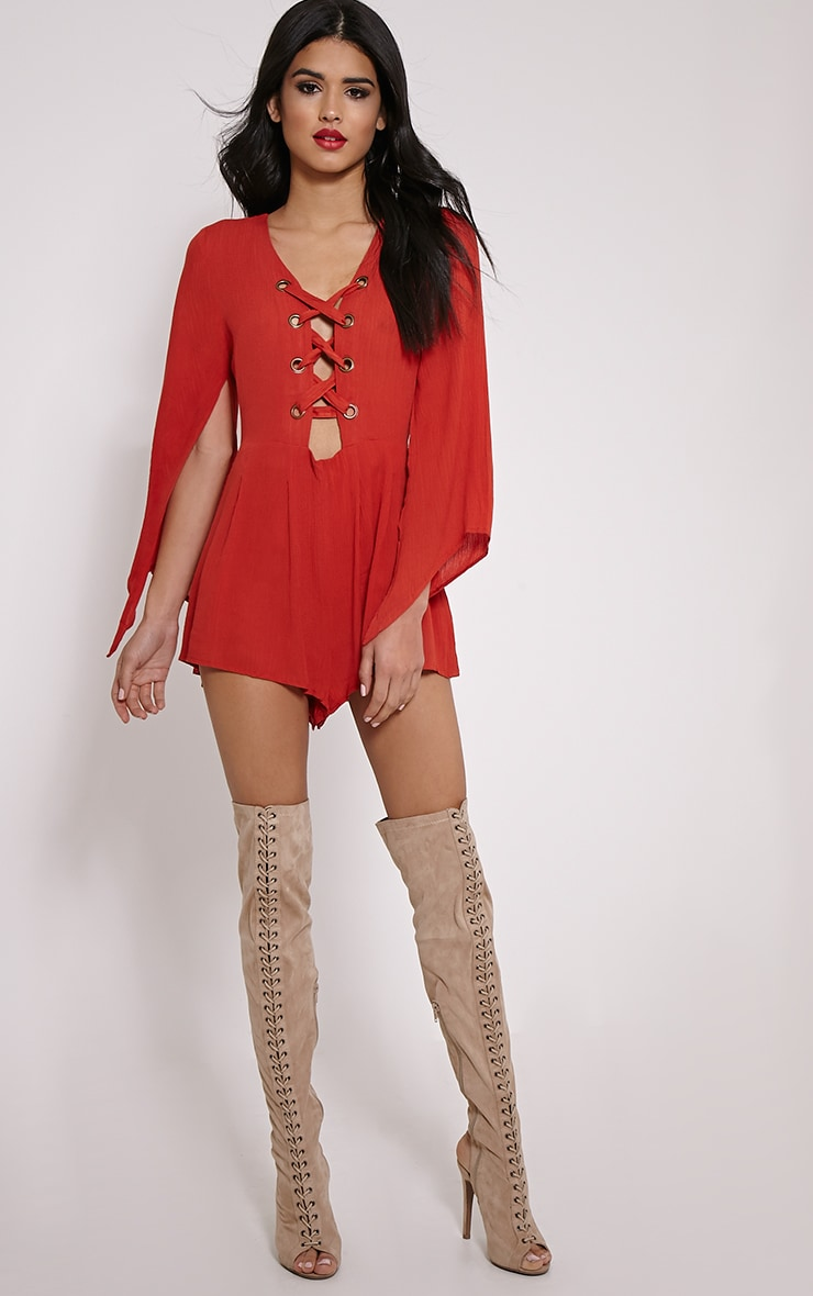 Clemence Orange Lace Up Detail Bell Sleeve Playsuit 3