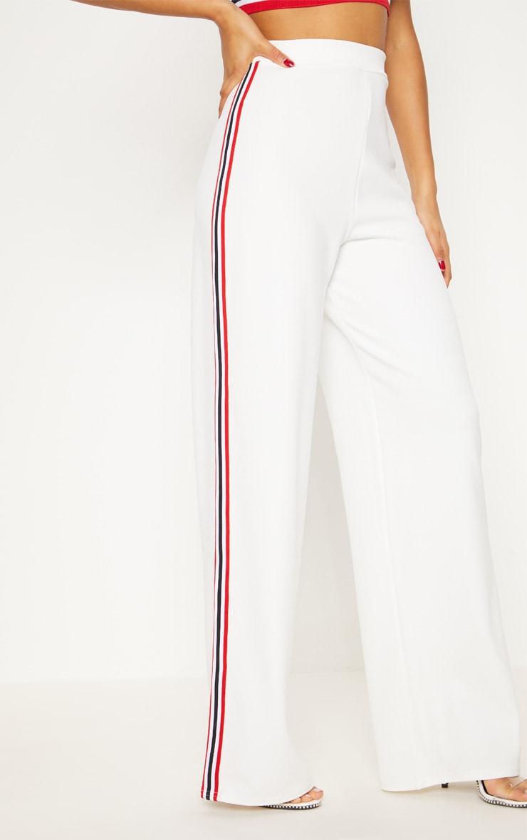 White Tape Wide Leg Trouser  2