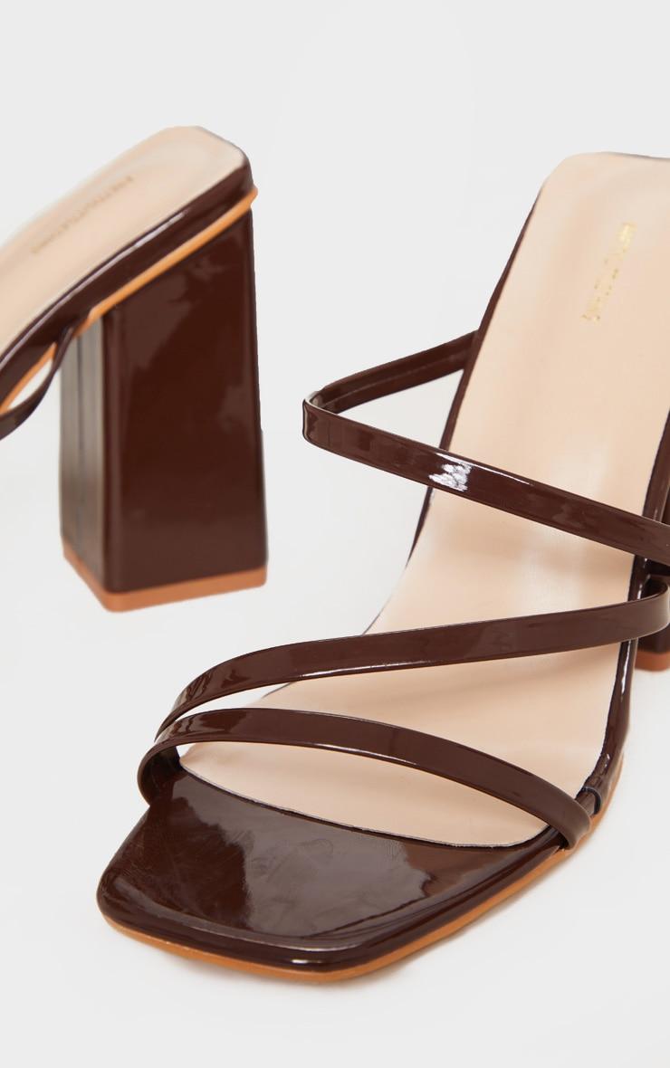 Chocolate Block Heel Strappy Mule Sandal 4